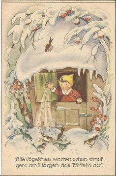 Tiere im Winter, Hase, Vogel, Fütterung, Künstlerkarte, Charlotte Baron | eBay
