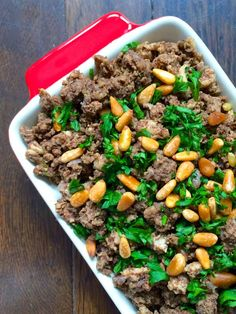 Done with lentils: Lebanese Hushwee - Ground Beef with Cinnamon and Toasted Pine Nuts - The Lemon Bowl...let's try these flavor with lentils! To vegan