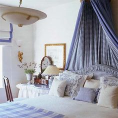 A crisp blue and white theme and a softly-draped canopy creates a French Provençal theme in this bedroom. Add relaxing lavender to the bedside table for a restful night's sleep. Furniture Decor, Bedroom Furniture, Bedroom Decor, Blue Bedroom, Country Bedroom Design, Bedroom Designs, Pretty Room, Shabby Chic Bedrooms, French Bedrooms