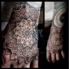 Hand tattoos are awesome and these geometric dotwork hand tattoos are some of the best! Geometric Tattoo Hand, Mandala Wrist Tattoo, Traditional Tattoo Sleeve Filler, Neo Traditional Tattoo, Foot Tattoos, Body Art Tattoos, Sleeve Tattoos, Tattoo Sleeves, Sexy Tattoos