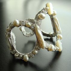 Margot Cuff Bracelet - Freshwater Pearls, Biwa Pearls, Mother-of-Pearl and Mystic Moonstone from Karen Sugarman Designs on Ruby Lane