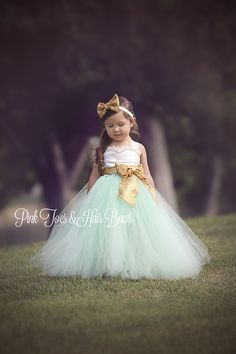 """The Holland Marie""Ivory Gold and Mint Sequin Flower Girl Dress"