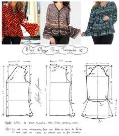 блуза, другие размеры здесь http://www.marlenemukai.com.br/2015/04/07/blusa-com-manga-sino/