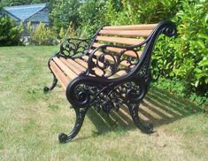 Cast Iron and Timber Garden Bench Cast Iron Garden Bench, Cast Iron Bench, Outdoor Furniture Bench, Garden Furniture, Street Furniture, Cheap Furniture, Painted Furniture, Garden Seating, Garden Chairs