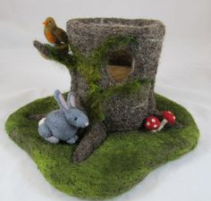 Needle Felted Playscapes. Like the nest and bird...