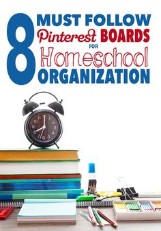 8 Must Follow Pinterest Boards for Homeschool Organization.   For those who love a good homeschool room redo, an organization hack, or sitting down to do a little planning.