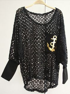 Black Batwing Sleeve Anchor Print Pocket Hollow Sweater