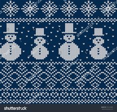 Knit christmas design with snowmen and snowflakes. Knitting Projects, Knitting Patterns, Bleu Pastel, Christmas Knitting, Christmas Design, Blue Backgrounds, Snowflakes, Knitted Hats, Snowman