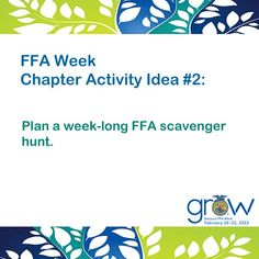FFA Week Chapter Activity Idea! Find more at https://www.ffa.org/events/ffaweek/Pages/default.aspx