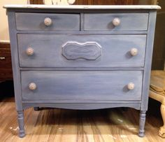 Vintage four drawer dresser hand painted in Chalk Paint® in Old Violet with a Paris Grey wash. Finished in a light distress and clear wax. Edwin Loy Home. Gray Chalk Paint, Using Chalk Paint, Chalk Paint Colors, Annie Sloan Chalk Paint, Blue Drawers, Dresser Drawers, Napoleonic Blue, Greek Blue, Paris Grey