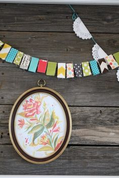 two banners to copy:  1. white dollies stapled to colored yarn.  2. scrap fabric rectangles sewn together.