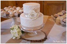 Vintage Wedding Cake and Cupcakes