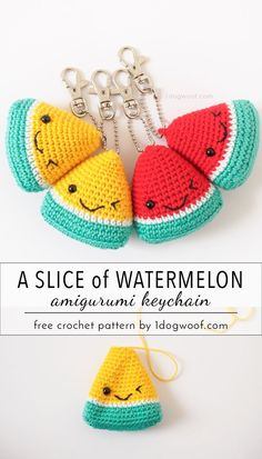 Adorable watermelon amigurumi keychain. Perfect for stocking stuffers and teacher gifts! | www.1dogwoof.com