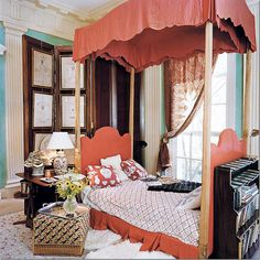 Guest House / Library bedroom of Mr John T Richardson. Note the wood screen with framed prints, the wall color (glazed), and the fringed, antique paisley textile simply hung, and held with a pull pack.