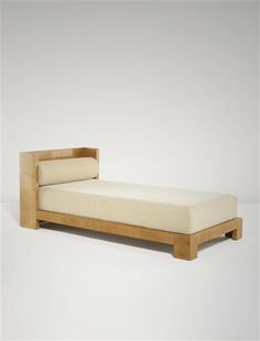 Jean Royère; Maple-Veneered Wood and Metal Daybed for Gouffé, c1930.