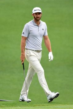 f7ffa731b45 Dustin Johnson wearing Taylormade Tour New Era Flat Bill Hat Adidas Golf  Boost in White silver and Adidas Ultimate 365 Solid Pant in Sesame