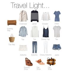 I love the light and breezy version of this version of 'Travel Light' perfect capsule travel wardrobe. Capsule Wardrobe, Travel Wardrobe, Travel Outfits, Travel Attire, Travel Wear, Capsule Outfits, Vacation Outfits, Wardrobe Ideas, Summer Wardrobe
