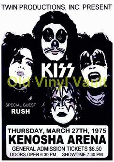 KISS Concert Poster Ice Arena ,Kenosha,WI,USA 1975 A3 Reproduction NEW