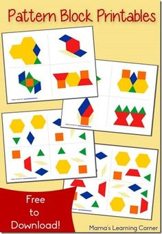 Free Pattern Block Printables - activity cards available in 2 different learning levels - pinned by – Please Visit for all our ped therapy, school & special ed pinsFREE Pattern Block Printables are a great early math activity for toddler, preschool, pre Free Preschool, Preschool Learning, Teaching Math, In Kindergarten, Toddler Preschool, Preschool Printables Free Worksheets, Kindergarten Worksheets, Free Pattern Block Printables, Pattern Worksheet
