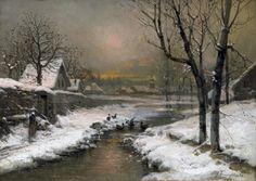 Johann Jungblut - Abendsonne über einem vereisten Flußlauf