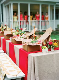 colorful wedding picnic baskets | backyard wedding ideas -- would be an awesome idea for a luncheon