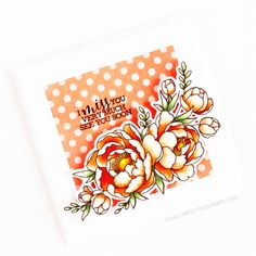 Stamps: Pick A Peony / Stencils: Basic Spots Handmade Flowers, Clear Stamps, Peonies, Stencils, Alcohol, Tableware, Pretty Cards, Colouring, Card Ideas
