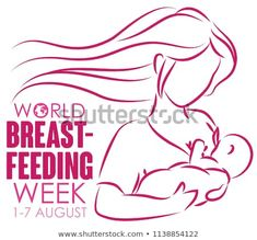 Commemorative design in outline style for World Breastfeeding Week: loving long haired mom holding her baby and breastfeeding. World Breastfeeding Week, Mom And Baby, Outline, Illustration, Baby Gifts, Royalty Free Stock Photos, Long Hair Styles, Image, Design