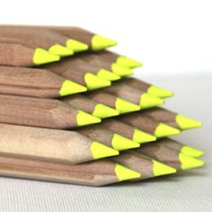 Highlighter Pencils! With no plastics or solvents, they're more eco-friendly than regular highlighters. Sold for $2.50 each.