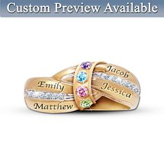 A Mother's Embrace Personalized Birthstone Ring, I would like to have with my 2 daughters and 4 grandchildren's names