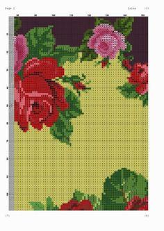 Sugestão de cores:   Anchor:   Verde: 269, 264, 259 e 723 da Maxi   Vermelho: 46, 35, 9046, 22, 47 ou 234 da Maxi   Rosa: 40, 41, 42, 25, 4...