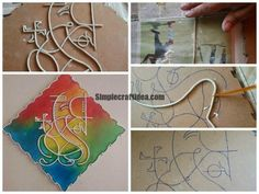 Stain wood mural Trace your design on MDF cutout Apply little glue before sticking lining Prepare little thick lines out of Shilpkar and always use talcum Mural Painting, Mural Art, Art N Craft, Diy Art, Clay Crafts, Arts And Crafts, Ganesha Painting, Budha Painting, Ganesha Art