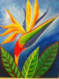This beautiful plant is named after the duchy of Mecklenburg-Strelitz, birthplace of Queen Charlotte of the United Kingdom.  A common name of the plant is bird of paradise flower, because of a supposed resemblance of its flowers to the bird of paradise. In South Africa it is commonly known as a crane flower.  This painting will brighten up your room in an instant.