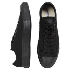 Converse Lo Monochrome Black ($65) ❤ liked on Polyvore featuring shoes, sneakers, converse, black, monochrome sneakers, black trainers, kohl shoes, black shoes and converse trainers