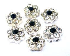 3 clear crystal TINY 2 hole slider beads with jet black, 10mm, daisy flower