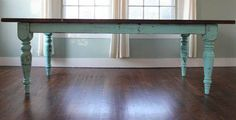 turquoise painted farmhouse table