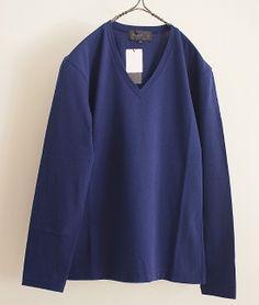 tsuki.s 度詰め天竺Vネックロングスリーブカットソー(DARK BLUE) http://floraison.shop-pro.jp/?pid=70018633