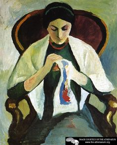 Woman Embroidering in an Armchair: Portrait of the Artist's Wife  August Macke
