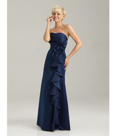 2013 Allure Bridesmaid - Navy Satin Crumb-Catcher Long Bridesmaid Dress - Unique Vintage - Prom dresses, retro dresses, retro swimsuits.