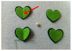 Amenez la chance en fabriquant ces jolis trèfles et ensuite posez-les sur un chandail, un chapeau, une barrette.... Matériels : Feutre vert Feutre vert foncé perle Fil vert aiguille ciseau Instructions : 1. Coupez 4 coeurs dans le feutre vert foncé, puis...