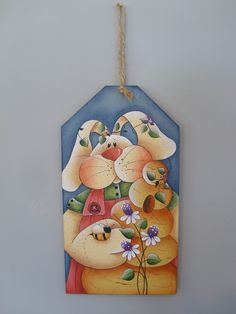 EASTER Spring Hand Painted wood Sign Spring Bunny