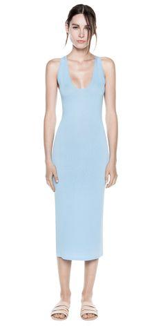 TANK DRESS (blue) - by Dion Lee #knitwear #Formfitting #sleeveless #lowcut #orange