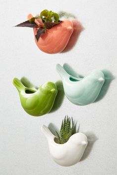 Sparrow the Seeds Magnetic Planter Set. Laying eyes on these ceramic vases plants the idea that your apartment needs more greens. Ceramic Birds, Ceramic Planters, Ceramic Vase, Head Planters, 31 Gifts, Home Gifts, Hostess Gifts, Unique Gifts, Pottery Vase
