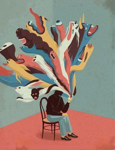Emiliano Ponzi is an illustrator based in Milan, who uses repetition, a judicious use of line and strong graphic compositions to define the concept at hand. Art And Illustration, Illustrations, Kunst Inspo, Art Inspo, Psy Art, Psychedelic Art, Surreal Art, Aesthetic Art, Art Reference