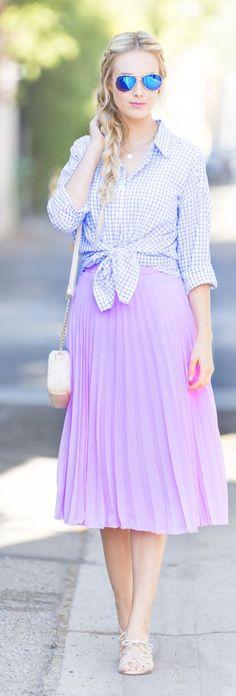 Blue Eyed Finch Pink Pleated Midi Skirt #Fashionistas
