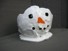 Snowman Plaster Bowl Craft Uses balloon and plaster, tutorial http://youtu.be/x9cWdjocPU4