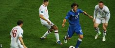 Andrea Pirlo demonstrates midfield mastery against England's Milner, Gerrard and Rooney in the 2012 European Championships.