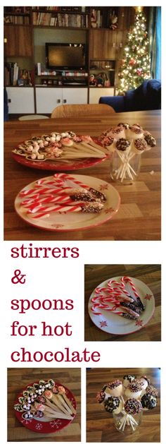 hot chocolate bar Hot chocolate spoons & stirrers - made with chocolate, candy canes, marshmallows and even more chocolate, Christmas Brunch, Christmas Goodies, Christmas Candy, Christmas Treats, Christmas Baking, Christmas Diy, Christmas Items, Christmas Bells, Christmas Desserts