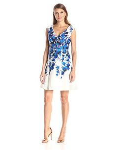 Adrianna Papell Women's Placed Border Fit & Flare Scuba Dress, Blue Multi, 12- #fashion #Apparel find more at lowpricebooks.co - #fashion