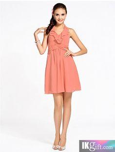 Sheath/Column Halter Knee-length Chiffon Bridesmaid Dress - Bridesmaid Dresses - Wedding Party Dresses - Wedding & Events