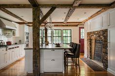 White Kitchen -  Exposed Wooden Beams - Break Bar - Crisp Architects
